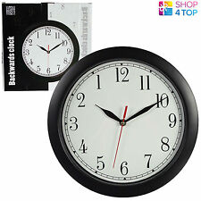 BACKWARDS WALL CLOCK REVERSE ANTI CLOCKWISE TURN HOME OFFICE ROUND BLACK WHITE