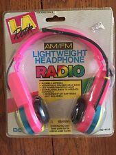 AM FM Vintage Retro Headphones Radio LA Rock Neon Blue Pink 90s