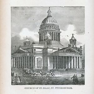 ST PETERSBURG St Isaacs Cathedral - 1886 engraving