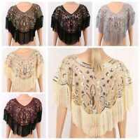 Women's Vintage Shawl Wraps Sequin Beaded Cardigan Wedding Bolero Shrug Top Cape