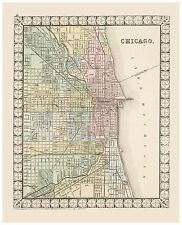 Old Vintage Map of Chicago Mitchell 1874