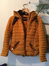 Zara Mustard Yellow Quilted Down Coat Puffer Jacket Size L UK 14