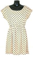 NEW LOOK Nude/Black Polka Dot Cap Sleeve Fit & Flare Summer Dress Uk 10