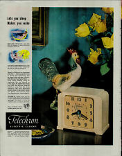 1948 Telechrom Electric Clocks Rooster Yellow Roses Clock Vintage Print Ad 3770