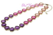 Unusual Vintage Colour Pop Beveled Pink Purple 'Jewels' Gold Plated Red Necklace
