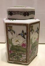 Vintage Andrea By Sadek Hexagon Tea Caddy Lidded Jar Exotic Birds Lotus Flowers