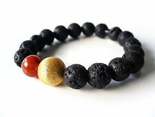"""A Sign """"Black Coral"""" Lava & Schaumkoralle Armband Kugel gebürstet schwarz/gold"""