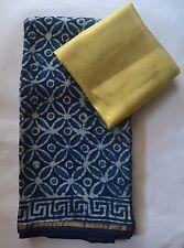 Indigo Bagru Cotton silk Chanderi Saree - Unique Retro pattern florals