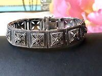 """Vintage 925 Sterling Silver Marcasite Filigree Bracelet. 7"""""""