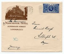 1935 Advertising envelope -  The Manchester Hotel London to Germany ( Jubilee