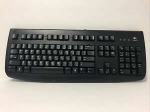 Logitech Deluxe 250 Wired Keyboard Korean Hangeul Stickers Used Condition Tested
