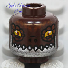 NEW Lego DARK BROWN MINIFIG HEAD Chima Crug w/Yellow Eye Monster Croc Fang Teeth