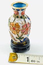 Vintage Chinese cloisonné Vase Enamel On Brass Mini 2.5� X 1.5� W/ Wood Stand