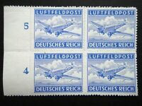 Germany Nazi 1942 1943 Stamps MNH Block Rouletted AIR POST Junkers 52 Transport