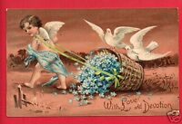 WITH LOVE AND DEVOTION CUPID DOVES BASKET 1909 SCHNEIDER PORTLAND OR    POSTCARD