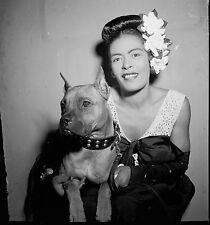 "Billie Holiday and Mister, 1947 Photo, JAZZ Singer vocalist & Pitbull, 12""x12"""