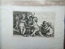 RARE Gesù, John e quattro angioletti putti da Venceslao HOLLAR 1625–77 acquaforte