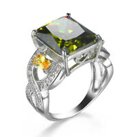 Huge Solitaire Natural OlIve Peridot Gems Solid Silver Lady Rings Size 7 8 9