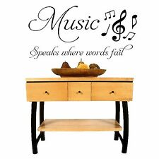 Music speaks where words fail - Wall Art Decal Stickers Quality New