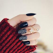 24Pcs Black Fake Long Full False Acrylic Nails Tips French Fake Nail With Glue