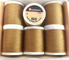 Six 1 Oz Spools GUDEBROD Rod Building Thread GOLD #340 Sz E Nylon 300 yd each