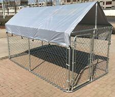 Backyard Dog Kennel Outdoor Pet Pen Chain Link Fence House Large Cage 5'x10'x4'