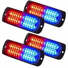 4x 24-LED Flashing Strobe Bright Mini Emergency Hazard Warning Lights Red Blue