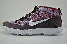 Mens Nike Flyknit Chukka Golf Shoes Size 7 Black White Blue Red 819009 002