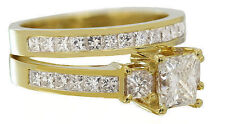 14K YELLOW GOLD PRINCESS CUT DIAMOND ENGAGEMENT RING AND BAND 2.60CTW H-VS2 EGL