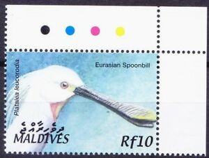 Eurasian Spoonbill, Water Birds, Maldives 2002 MNH Colour Guide Corner