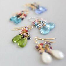 Multi-Color Gemstone 14k Gold Plated Cluster Dangle Earrings by Parken Jewelry