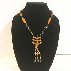 """28"""" chain Women Long Sweater Necklace Made with Agate Trapezoid Shape Pendant"""