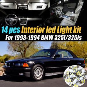 14Pc Super White Car Interior LED Light Bulb Kit for 1993-1994 BMW 325i/325is