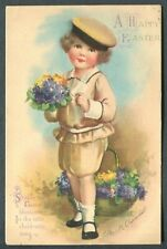VINTAGE EASTER POSTCARD - Ellen Clapsaddle - Girl with Flowers