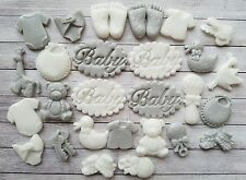 28 Grey/White baby Boy/girl Christening edible cupcake toppers,Baby shower