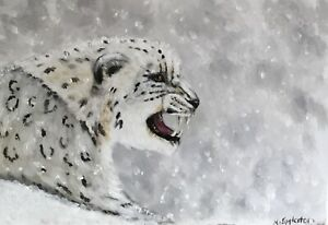 Original oil painting. Snow Leopard,  wildlife. Animal. Signed K Eggleston