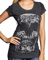 New AFFLICTION Women's Black Graphic Embellished AC Cabeza Cap S/S Tee Shirt