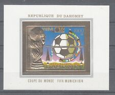 Football Dahomey Block 37 B Gold - WM 1974 Germany