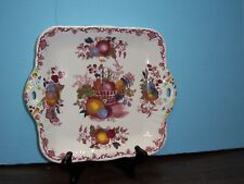 """MASON'S FRUIT BASKET SQUARE CAKE PLATE HANDLED 11"""" H TO H NEVER USED FREE SHIP"""