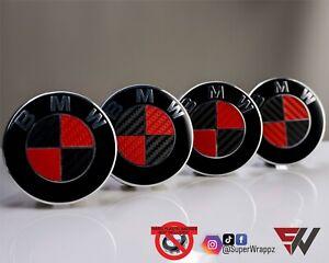 BLACK & RED CARBON FIBER Badge Overlay FOR BMW HOOD TRUNK RIMS @FITS ALL BMW@