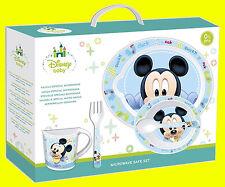 Disney Baby Kids Boys Blue 5 Piece Microwavable Dinner Set - Mickey Mouse Baby