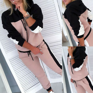 Women 2PCS Tracksuit Set Lounge Wear Ladies Sport Jogger Shirt Tops Trousers