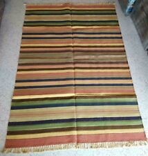 4x6 Beautiful Hand Knotted Traditional Cotton Dhurrie Rug Flatwoven Area Rug