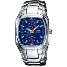 Casio Edifice EF315D-2A Mens Stainless Steel 3-Dial Blue Dial Dress Watch 100M