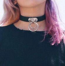 Goth Punk LEATHER  Double O-Ring Collar CHOKER ADULT RESTRAINT collar choker