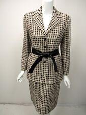 ESCADA Beige White Black Geometric Wool Leather Tie Belt Skirt Suit 38 40 8 10