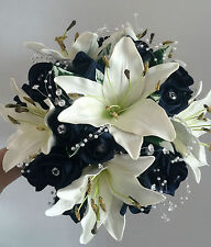 Brides Wedding flowers posy bouquet Real Touch Ivory lillies/Navy roses bling