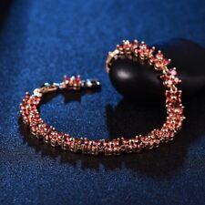 Fantastic Red Garnet Crystal Women Gold Filled Tennis Bracelet Chain Jewelry