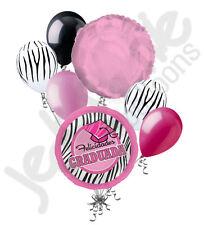 7 pc Pink Zebra Felicidades Graduada Balloon Bouquet Graduation Congratulations