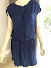 VINCE Navy Blue Adjustable Waist Dress Size small